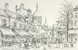 Place Du Terte Sketch by Phillip Bissell - Original Drawing on Mounted Paper sized 17x11 inches. Available from Whitewall Galleries