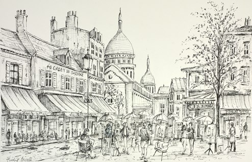 Place Du Terte Sketch by Phillip Bissell - Original Drawing on Mounted Paper